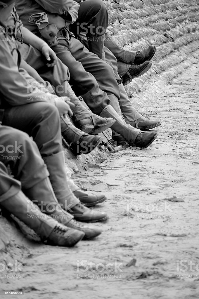 Omaha Beach soldiers. stock photo