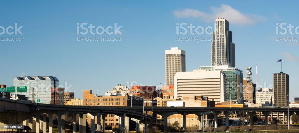 Omaha Nebraska Downtown City Skyline Highway Overpass stock photo