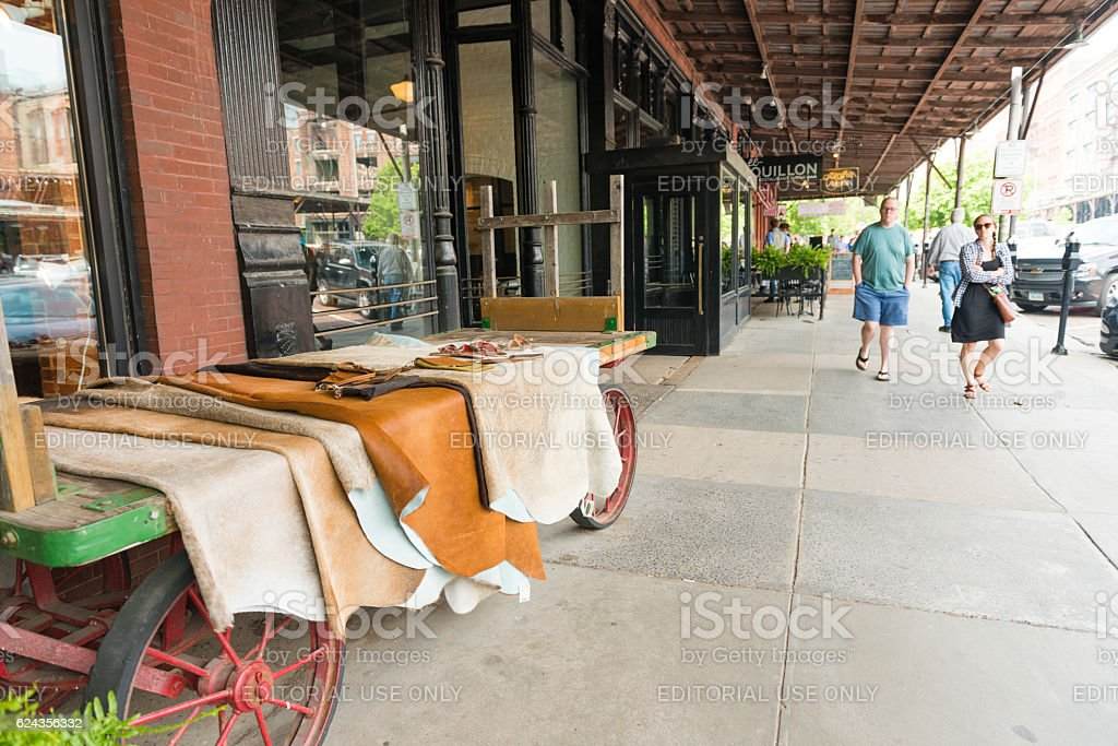 Omaha Nebraska Old Market Retail Business Sidewalk Display Midwest USA stock photo