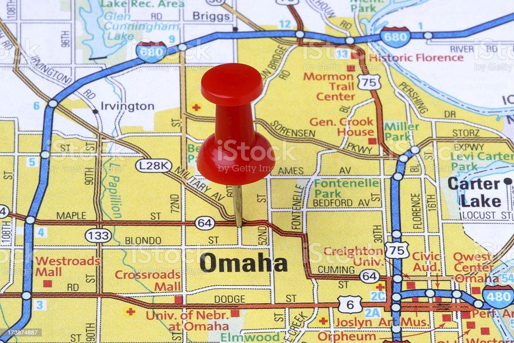 Omaha, Nebraska on a map. stock photo