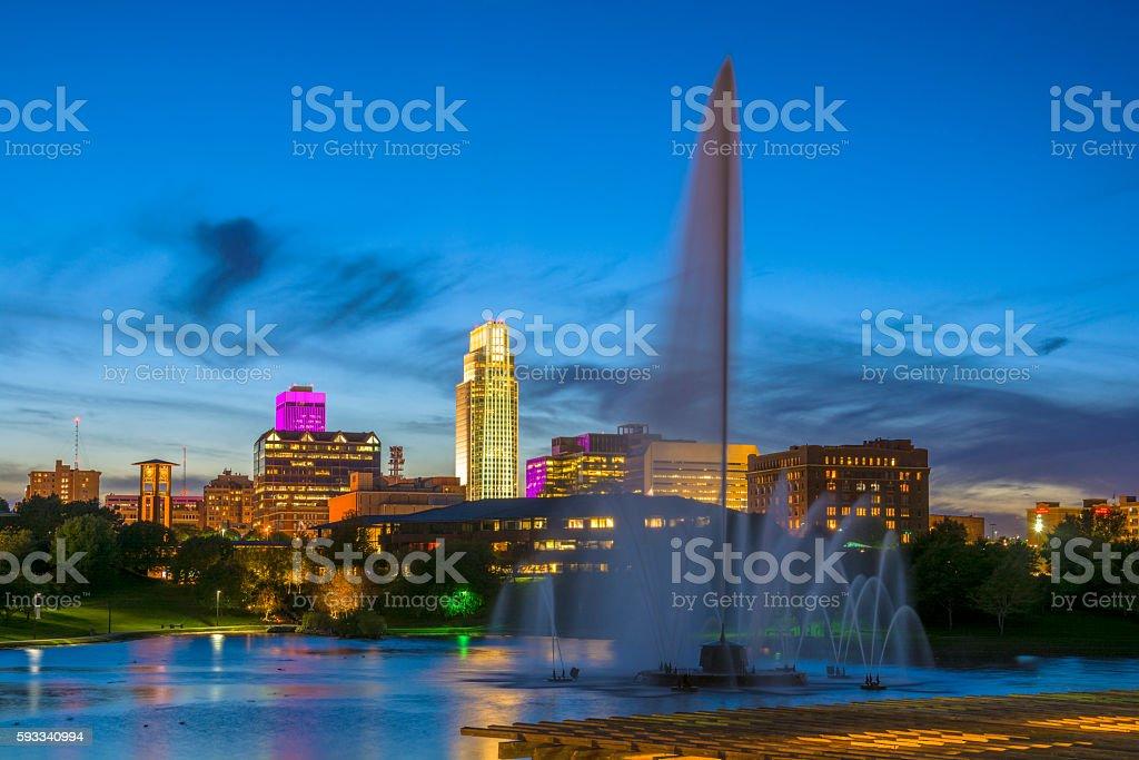 Omaha skyline and Fountain at Dusk stock photo