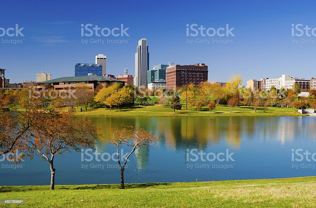 Omaha skyline and Heartland of America Park stock photo