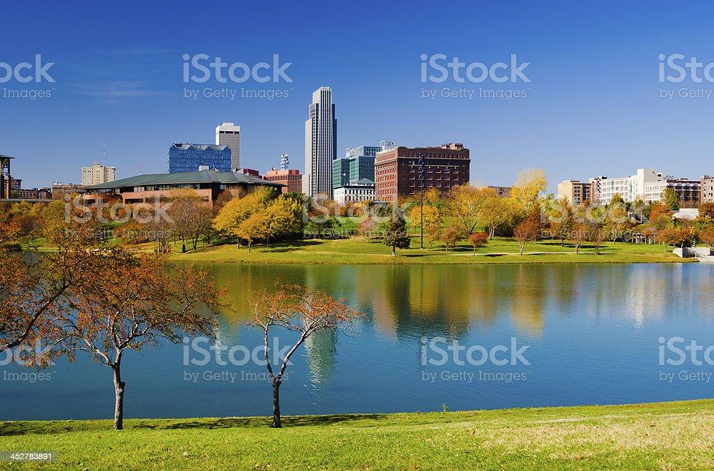 Omaha skyline and Heartland of America Park stock photo