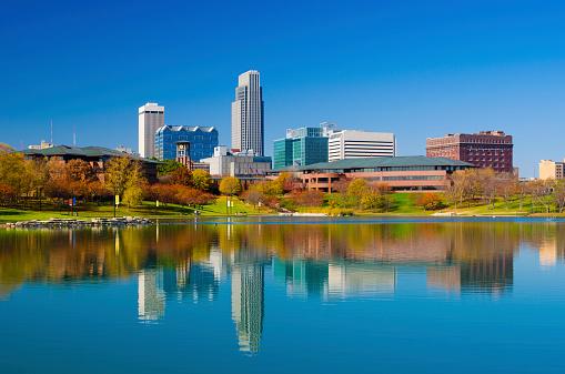 Omaha skyline and lake at Autumn