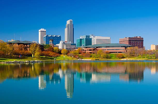 Omaha skyline and lake at Autumn stock photo