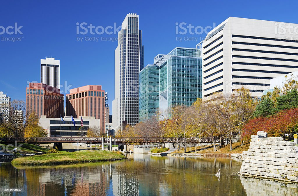 Omaha skyline and River stock photo
