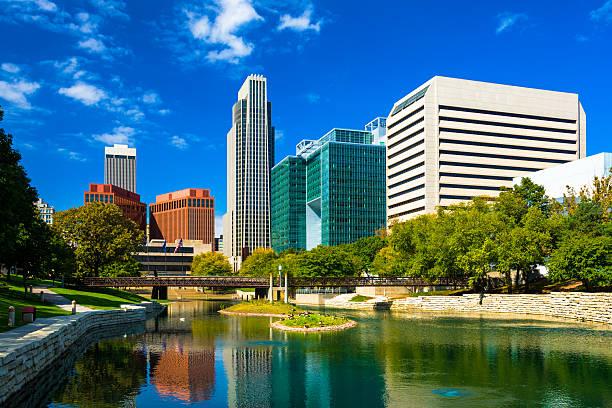 Omaha Skyline with Gene Leahy Mall stock photo