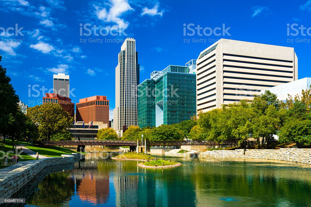 Omaha Skyline with Gene Leahy Mall stock photo