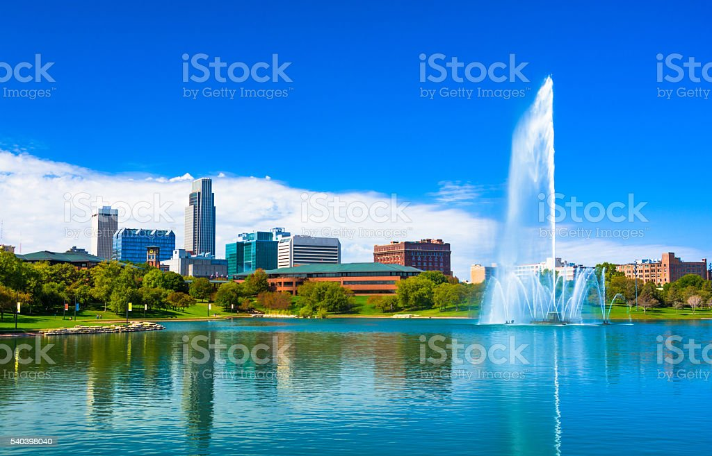 Omaha Skyline with Lake and Fountain stock photo
