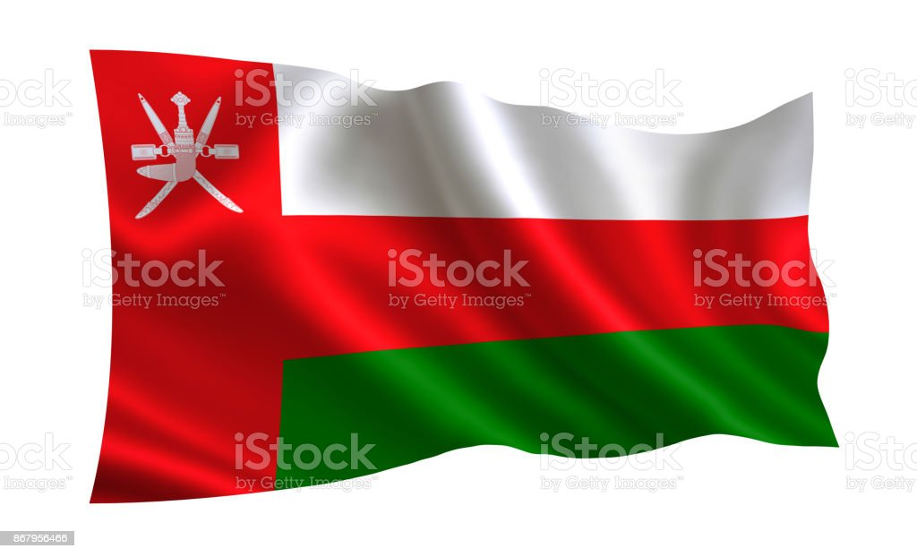 Oman flag. A series of 'Flags of the world.'  (The country - Oman flag) stock photo