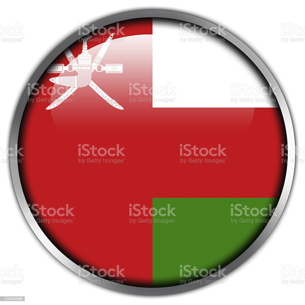 Oman Flag glossy button royalty-free stock photo