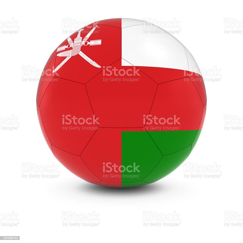 Oman Football - Omani Flag on Soccer Ball stock photo
