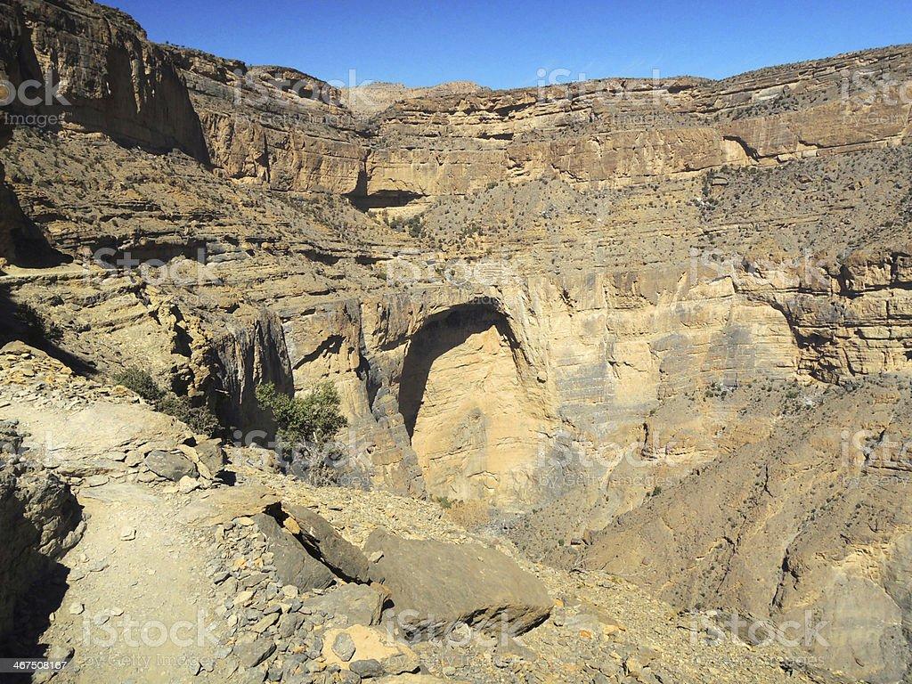 Oman, mountains landscape of Omani great canyon stock photo
