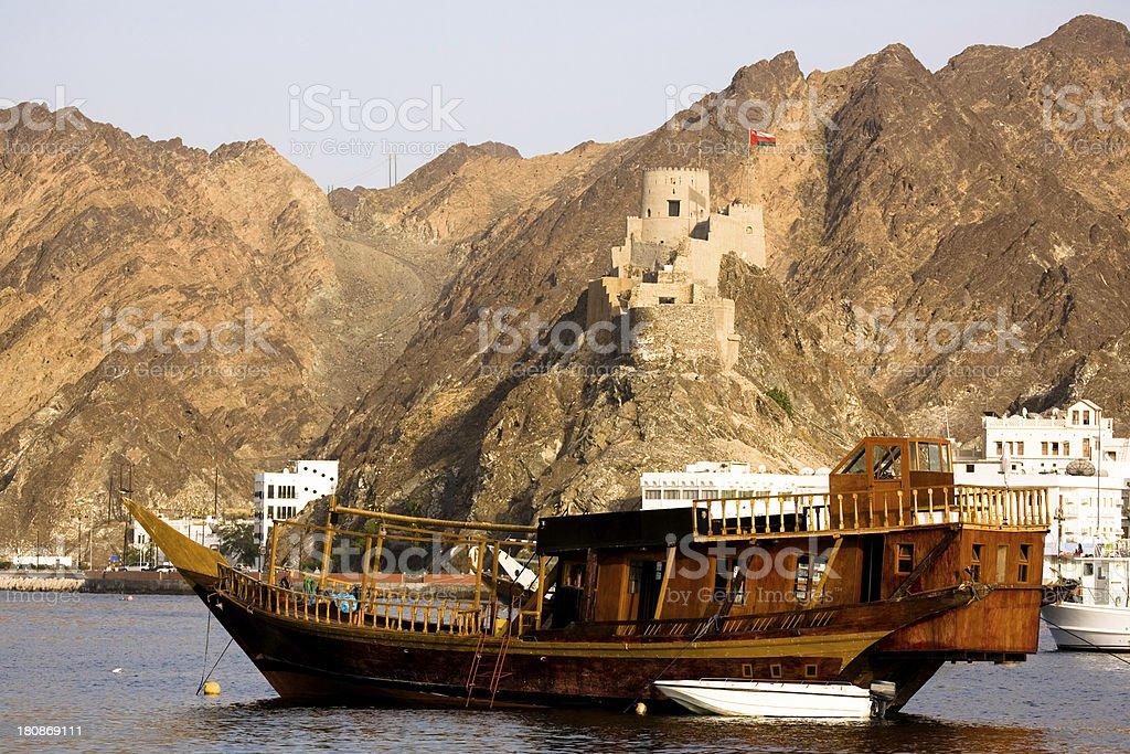Oman, Muscat, Muttrah Harbor. stock photo