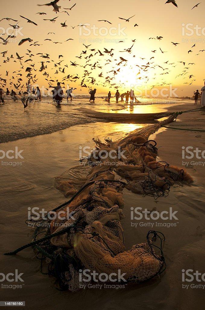 Omani fishermen stock photo