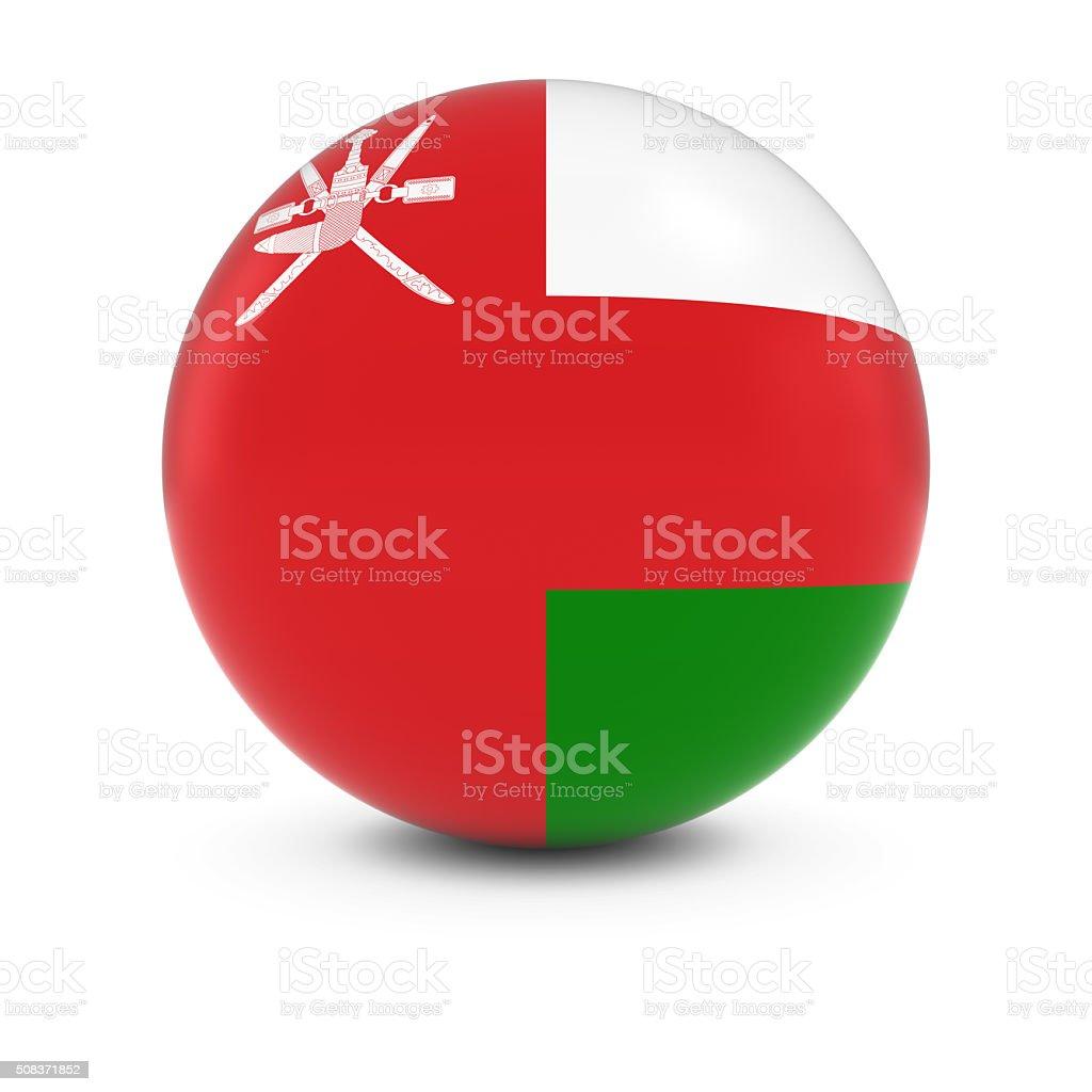 Omani Flag Ball - Flag of Oman on Isolated Sphere stock photo