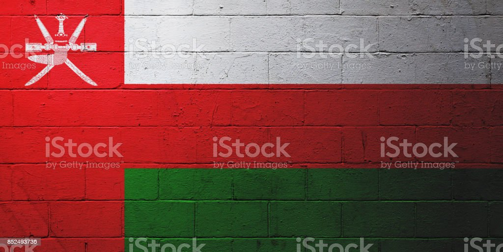Omani flag painted on a wall stock photo