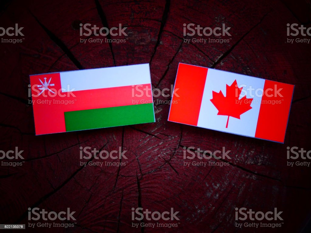 Omani flag with Canadian flag on a tree stump isolated stock photo
