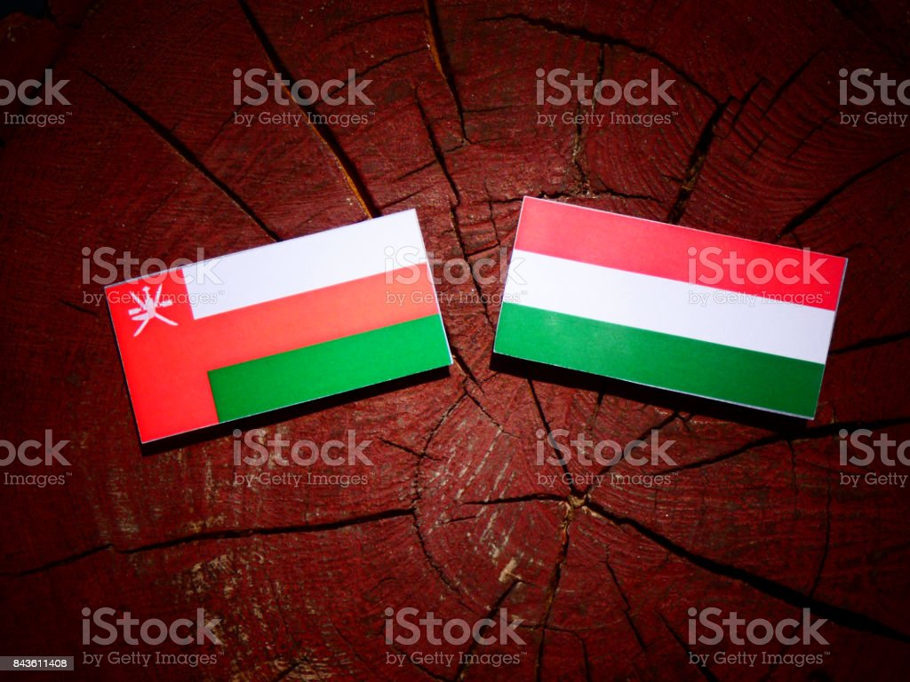 Omani flag with Hungarian flag on a tree stump isolated stock photo