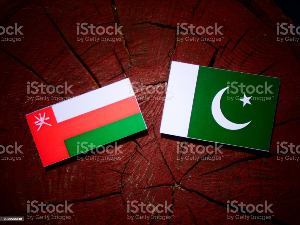 Omani flag with Pakistan flag on a tree stump isolated stock photo