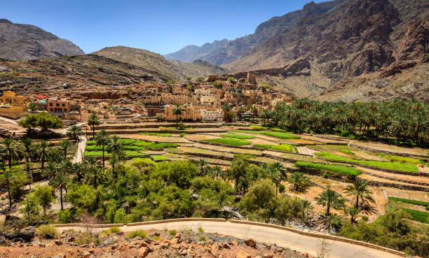 Omani village in the mountains stock photo