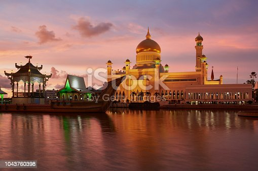 Omar Ali Saifuddien Mosque at blue hour. Seen from the other side of the lagoon.