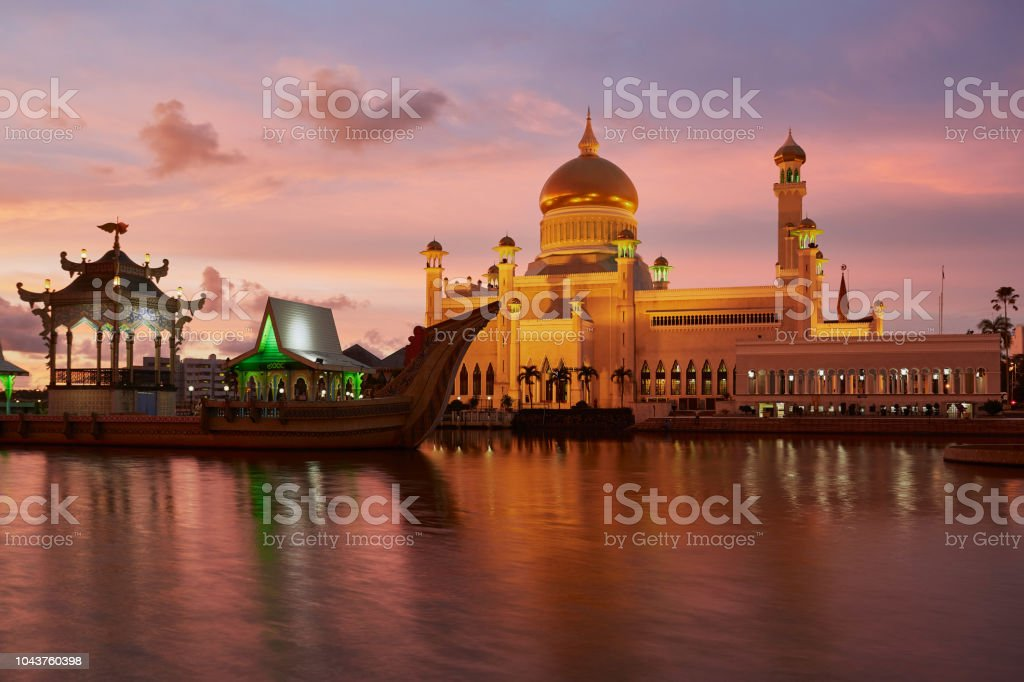 Omar Ali Saifuddien Mosque at blue hour. stock photo