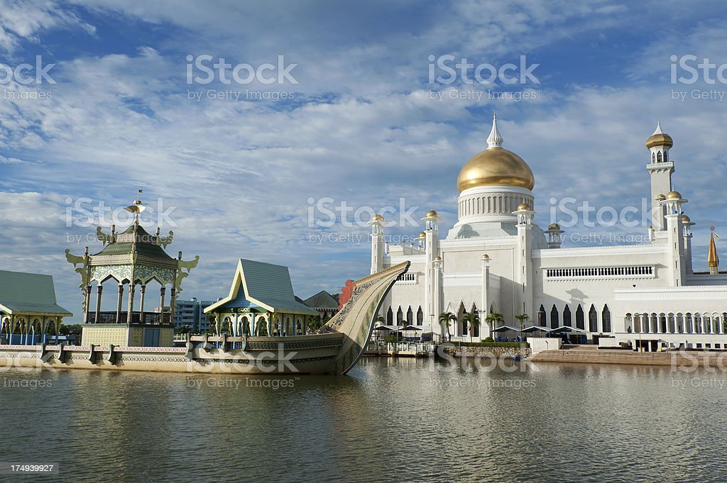 Omar Ali Saifuddien Mosque in Brunei stock photo
