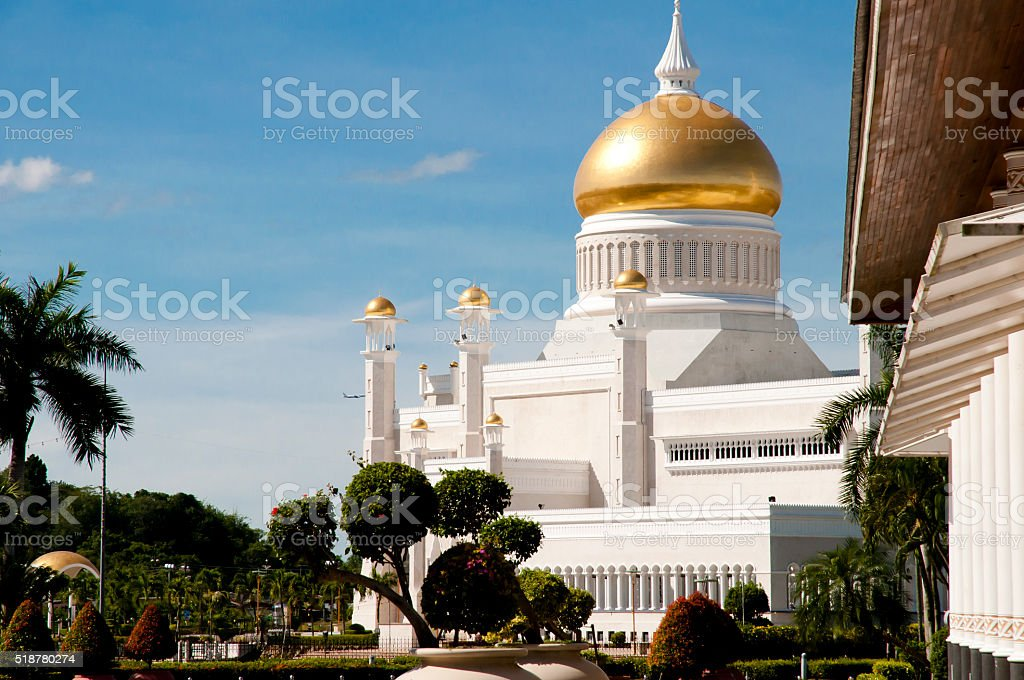 Omar Ali Saifuddin Mosque - Bandar Seri Begawan - Brunei stock photo