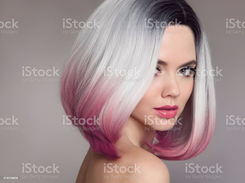 Ombre bob short hairstyle. Beautiful hair coloring woman. Fashion Trendy haircut. Blond model with short shiny hairstyle. Concept Coloring Hair. Beauty Salon. stock photo