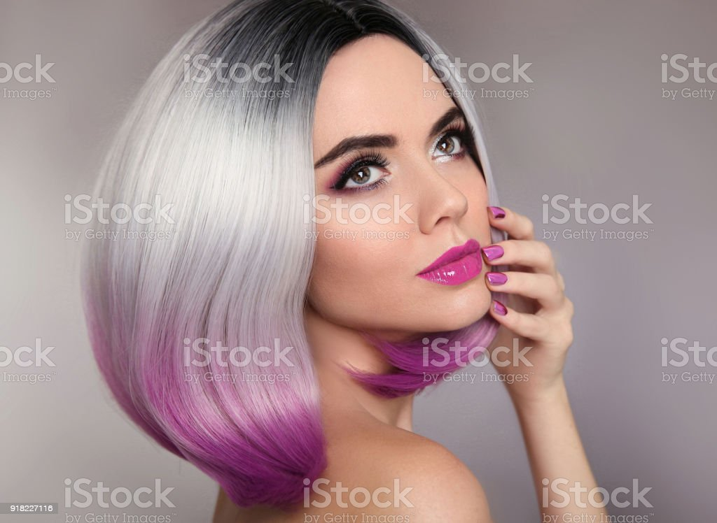 Ombre Hairstyle Beauty Makeup And Manicure Nails Colored Blonde Bob