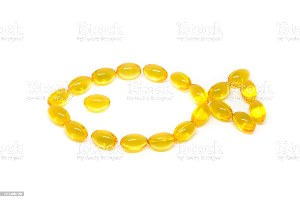 Omega 3 capsules for dieting concept on white background stock photo