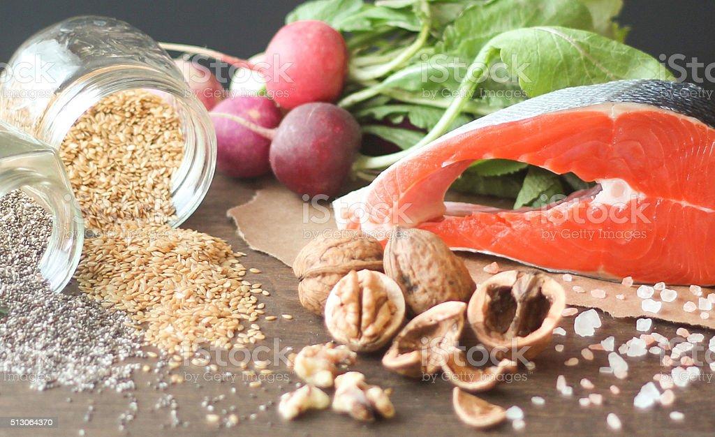 Omega 3 fatty acids with salmon steak stock photo