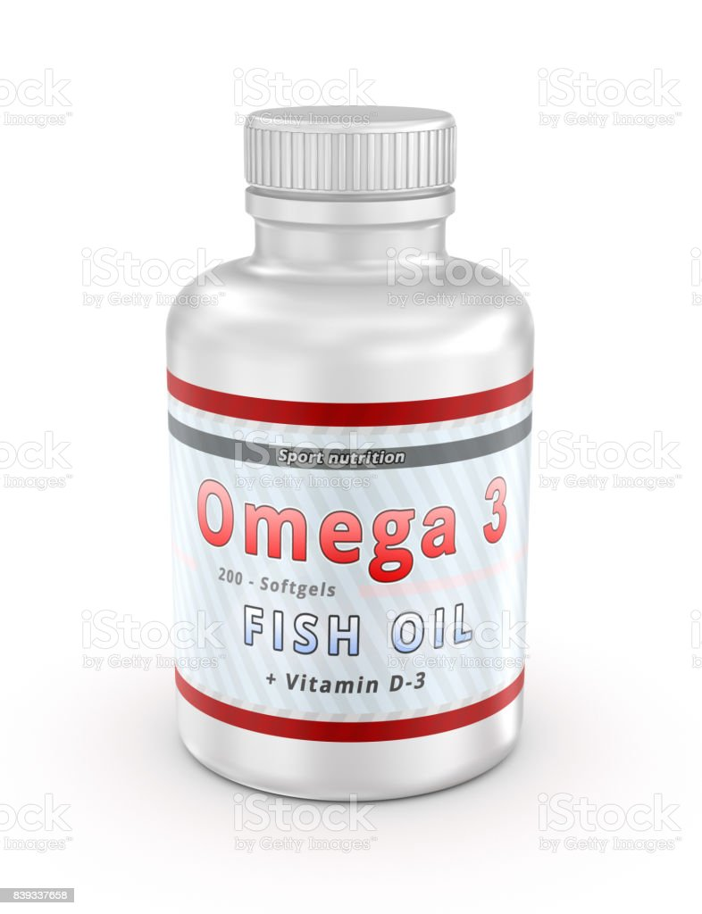 Omega 3 fish oil nutritional supplements. 3D illustration stock photo