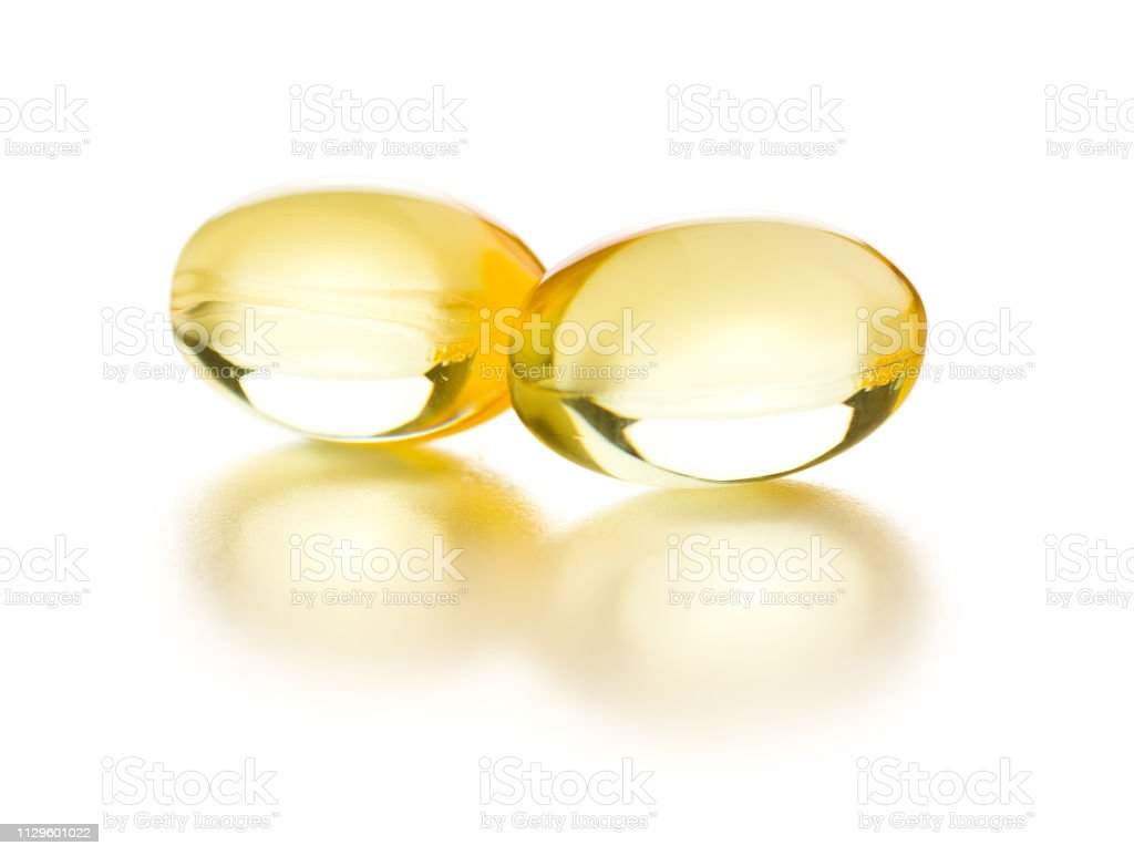 Omega 3 gel capsules. stock photo