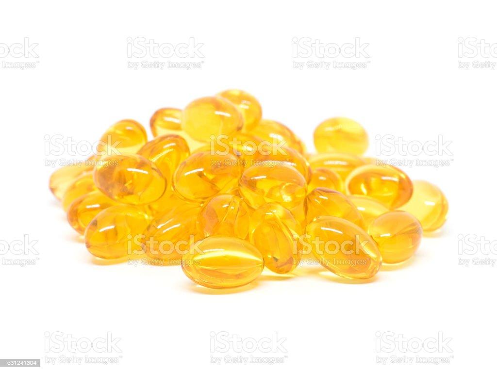 Omega 3 soft gel capsules on white background stock photo