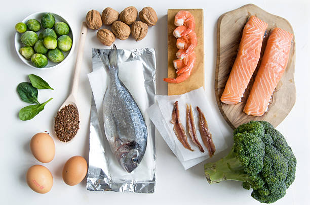 Omega fatty acid food collection stock photo
