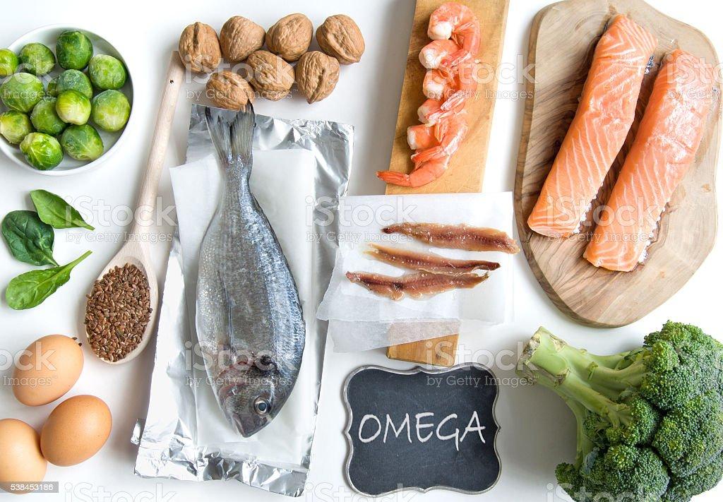 Omega fatty acid foods stock photo