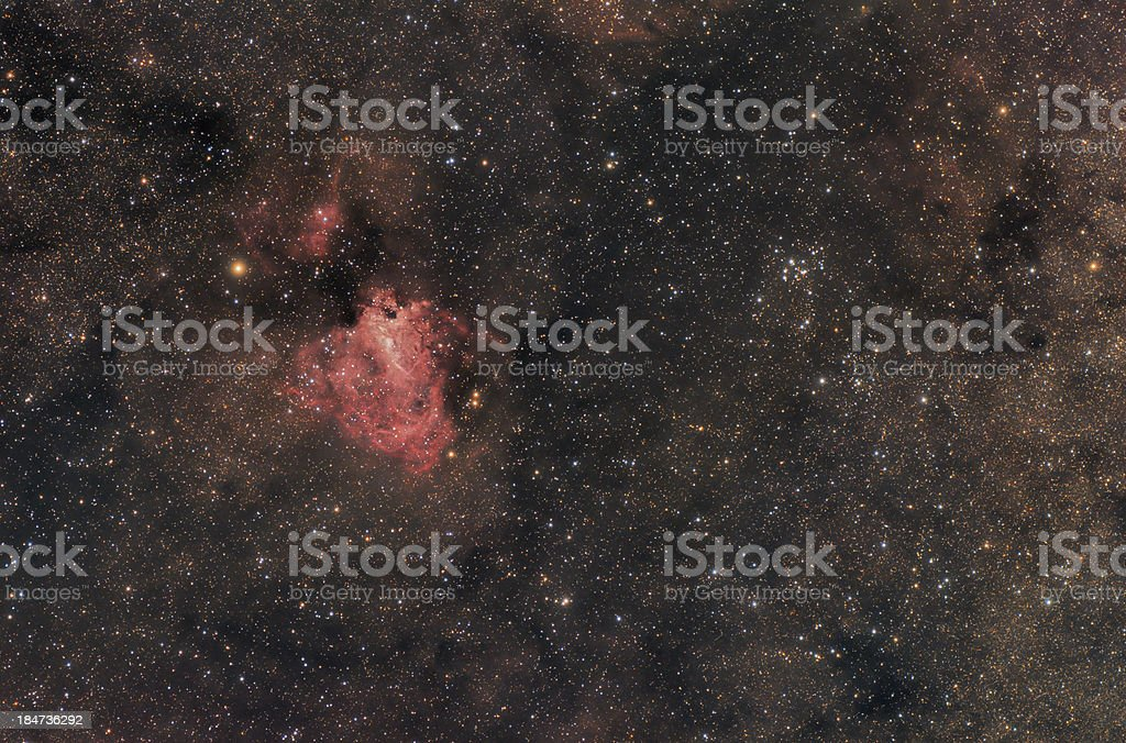 Omega (Swan) nebula in Sagittarius constellation stock photo