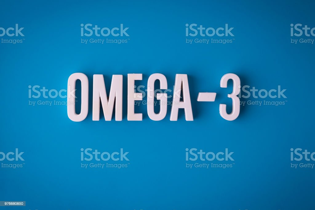 Omega-3 fatty acids lettering sign stock photo