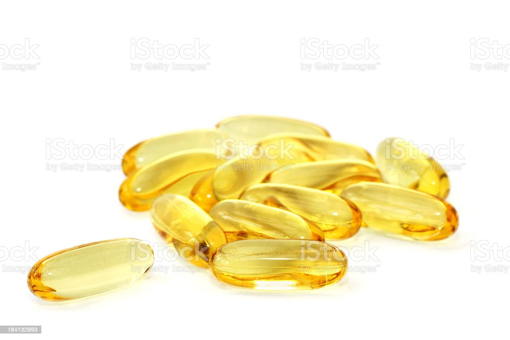 Omega-3 fish oil capsules royalty-free stock photo