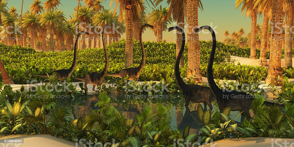 A herd of Omeisaurus dinosaurs use a small Jurassic pond for drinking...