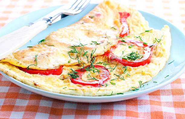 Omelet Omelet with red bell pepper egg white stock pictures, royalty-free photos & images