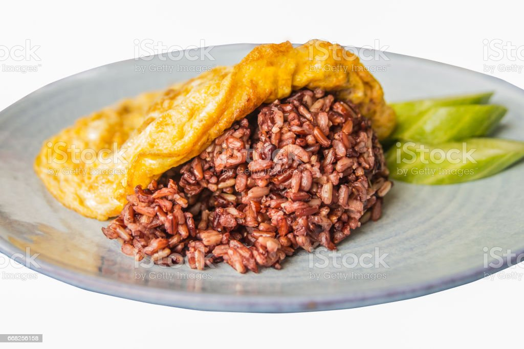 Omelet served with red rice foto stock royalty-free