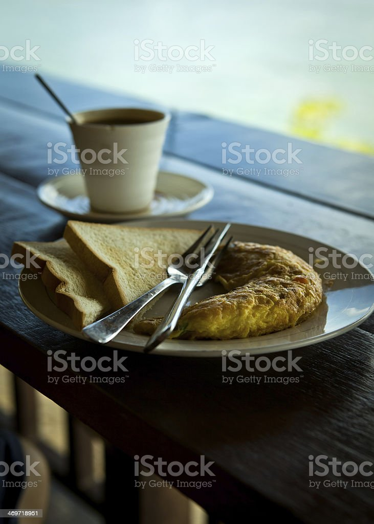 omelet toast and coffee breakfast stock photo