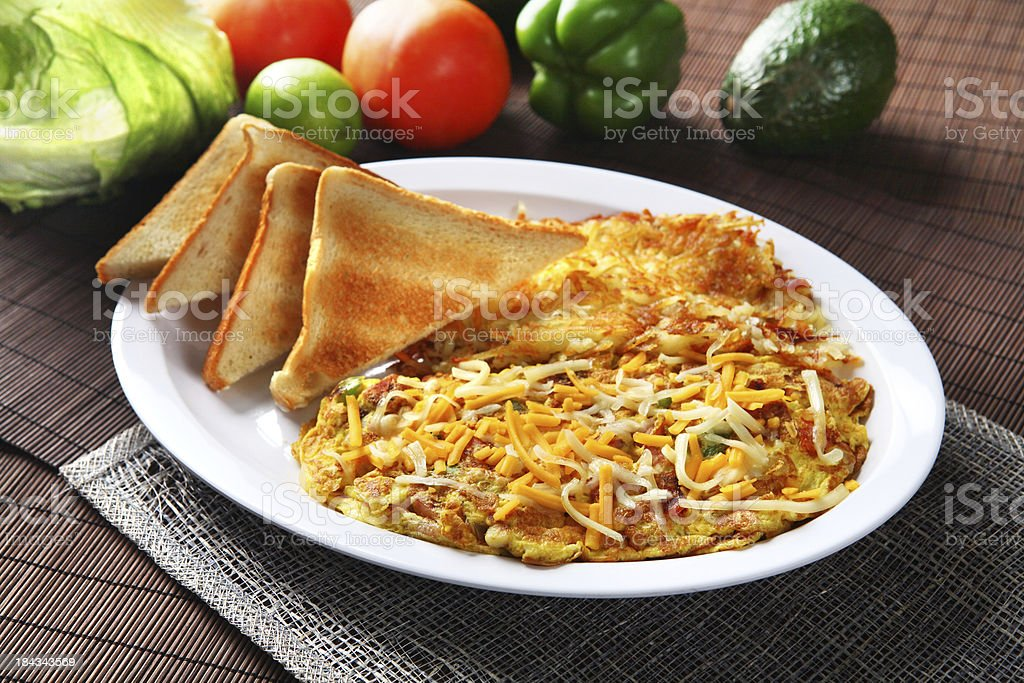 Omelet & Toast stock photo