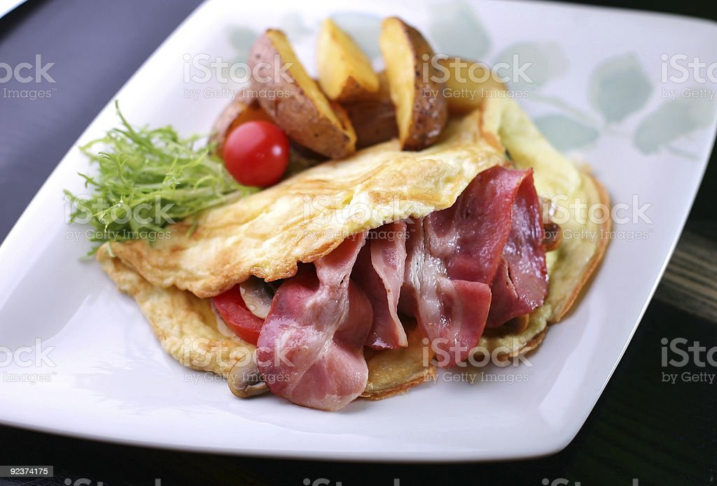 omelet with a bacon royalty-free stock photo