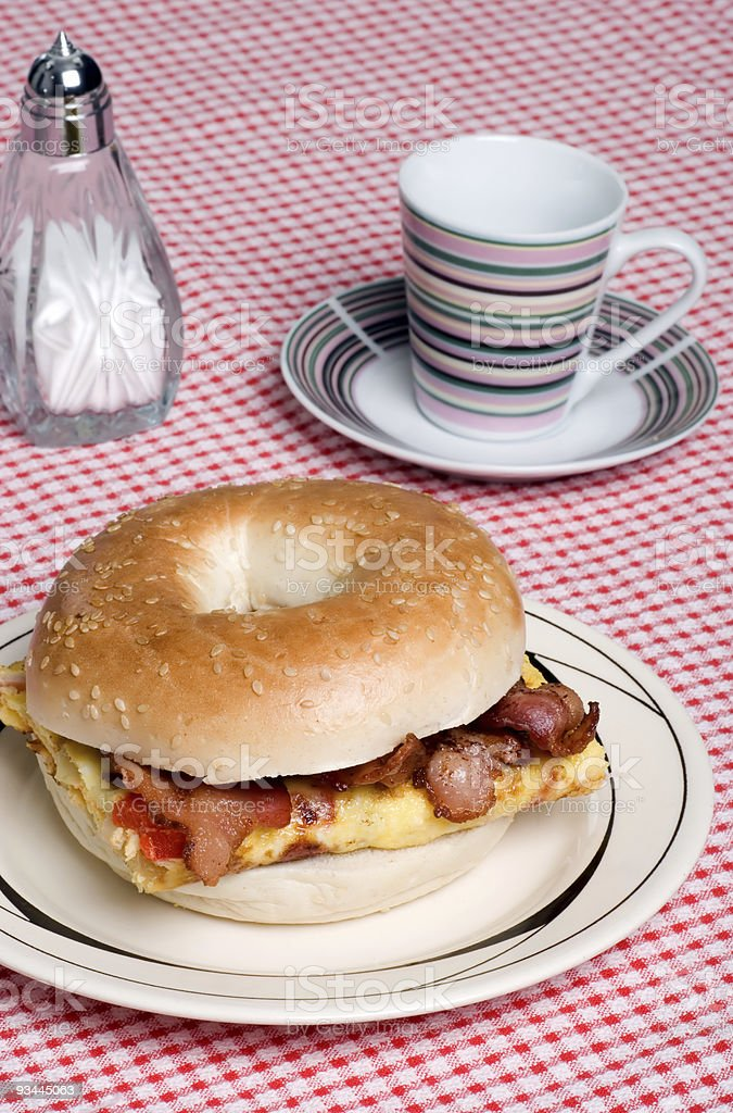 Omelet with bacon sandwich and coffee royalty-free stock photo