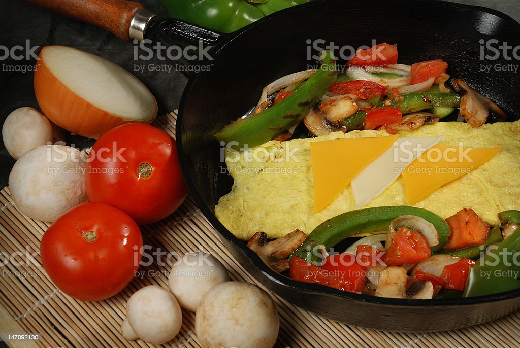 omelet with cheese and vegetables royalty-free stock photo
