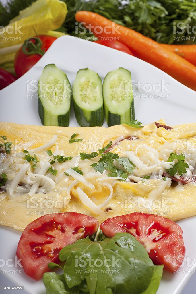 Omelet with garniture stock photo
